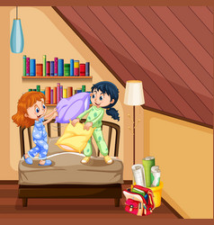 two girls playing pillow in bedroom vector image vector image