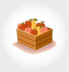 Box with fresh fruits eco products vector
