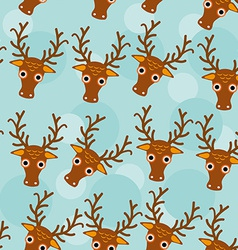 Deer Seamless pattern with funny cute animal face vector image
