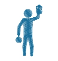 drawing colored silhouette man athlete kettlebell vector image vector image