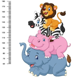 Height scale with funny Africa animal collection vector image