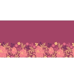 Red flowers and leaves horizontal seamless pattern vector image vector image