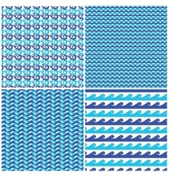 Set of blue waves seamless patterns vector image vector image