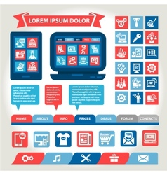 web and mobile flat design elements vector image vector image