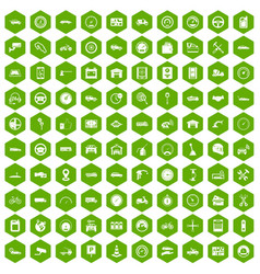 100 garage icons hexagon green vector