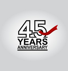 45 years anniversary logotype with black outline vector