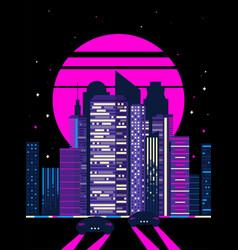 80s retro cyberpunk night city vector