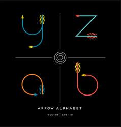 Archery arrows letters z y a b vector