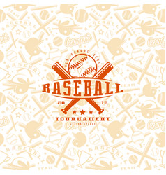 Baseball seamless pattern and emblem vector