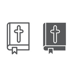 bible line and glyph icon church and religion vector image
