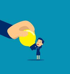 Big hand stealing idea light bulb steal idea vector