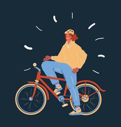 biker girl teen ride vector image