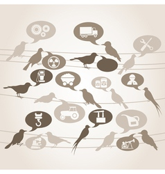 Birds about industry vector