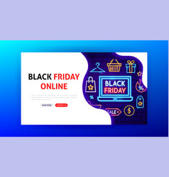 black friday online neon landing page vector image