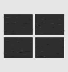 Black glued wet paper posters wrinkled texture vector