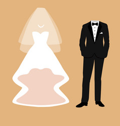 Bride and groom clothes vector