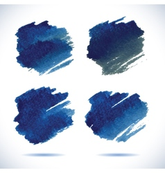 Brushstroke banners Ink blue watercolor spot vector image