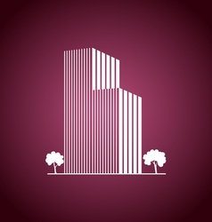 Buildings and trees over pink vector