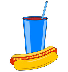 Cardboard cup with a drink and a hot dog vector