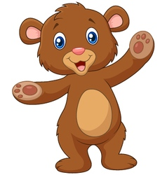 Cartoon teddy bear waving hand vector