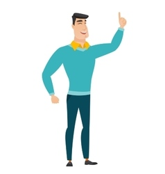 Caucasian businessman pointing with his forefinger vector image
