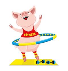 Cheerful pink pig with hula hoop vector
