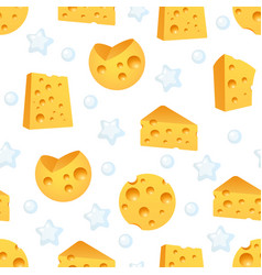 Cheese looped pattern with piece farm products vector