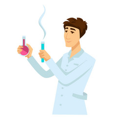 Chemist in work robe with two flasks full of vector
