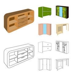 Chest of drawers wardrobe with mirror corner vector