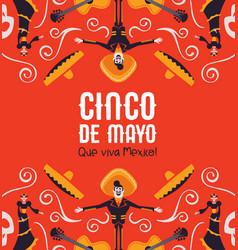 cinco de mayo card mexican mariachi and catrina vector image