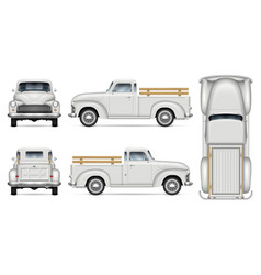 Classic white pickup truck mock-up vector