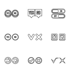 Click and selection icons set outline style vector