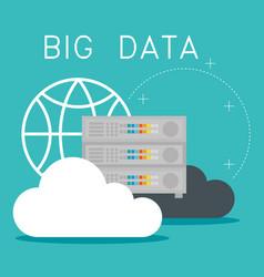 cloud computing with big data icons vector image