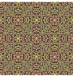 Colorful graphic flower pattern on brown vector image