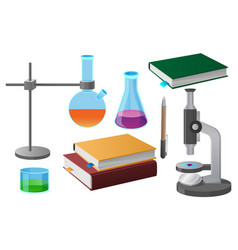 coursebooks and scientific tools vector image
