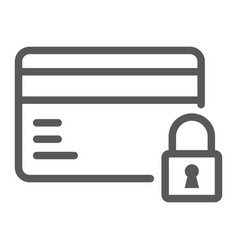 Credit card security line icon e commerce vector