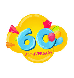 cute cartoon template 60 years anniversary vector image