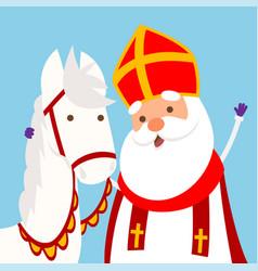 cute horse and sinterklaas hugging vector image