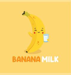Cute smiling banana milk character vector
