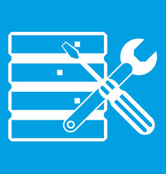 Database with screwdriverl and spanner icon white vector