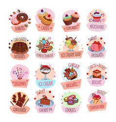 Dessert cackes icons for bakery shop cafe vector