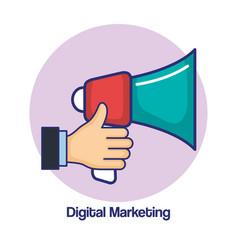 digital marketing hand holding loudspeaker vector image