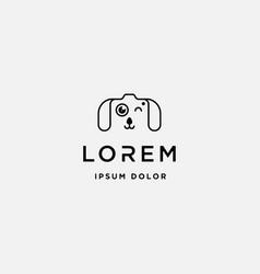 Dog paw camera logo template design vector
