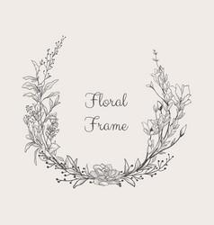 Elegant delicate floristic frame wreath vector