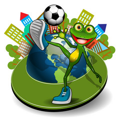 frog with ball and globe vector image