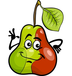 Funny pear fruit cartoon vector
