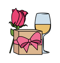 Gift with rose and wine cup vector
