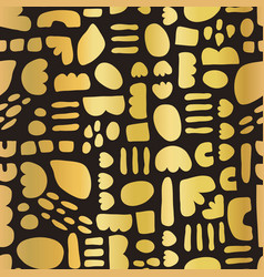 gold foil mosaic doodle shapes on black seamless vector image