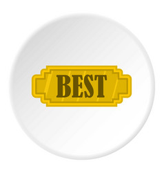 Golden best label icon circle vector