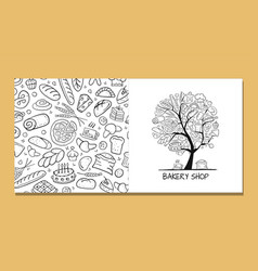 Greeting cards design idea for bakery company vector